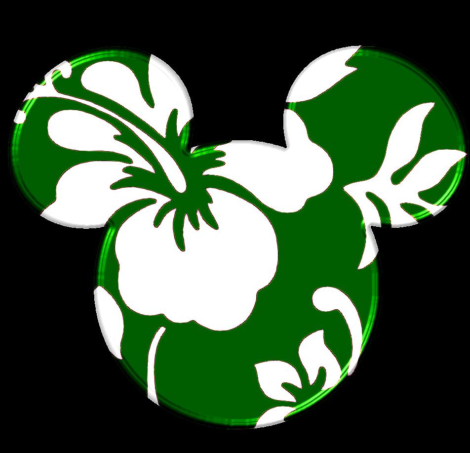 Siluetas De La Cabeza De Minnie Y Mickey A Lo Hawaiano