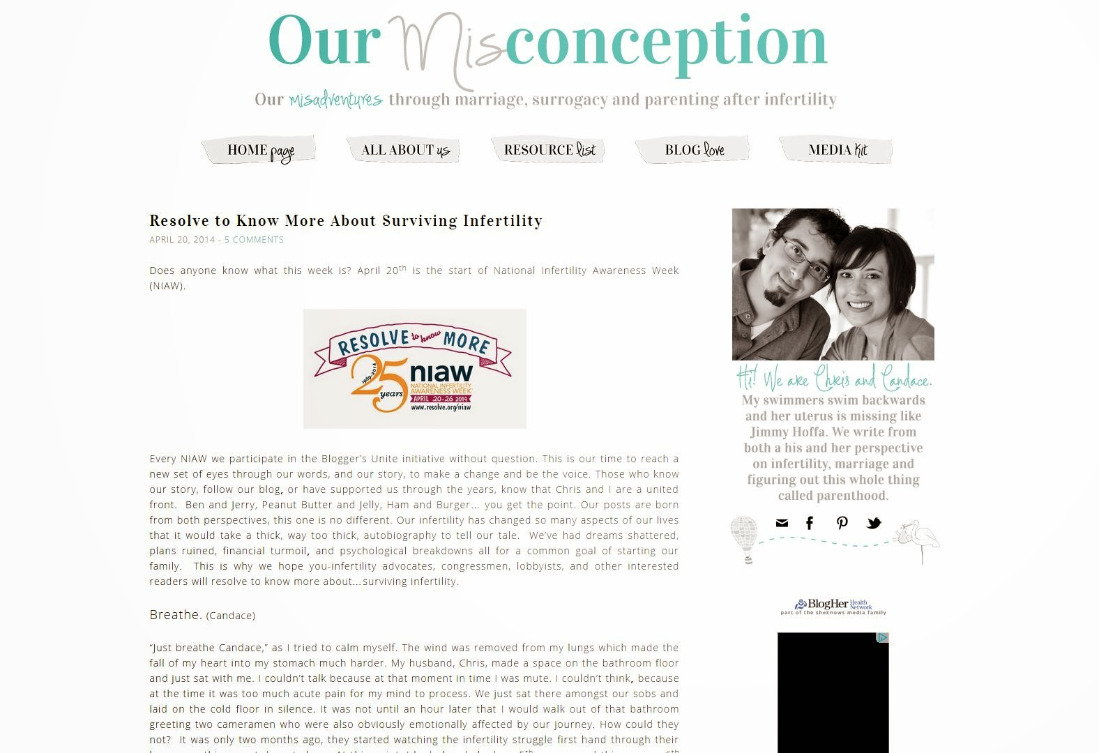 Our Misconception: Resolve to Know More About Surviving Infertility