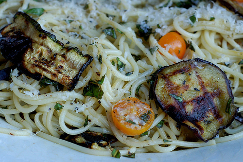 Pasta with grilled zucchini and eggplant. Image by Eve Fox, The Garden of Eating, copyright 2013