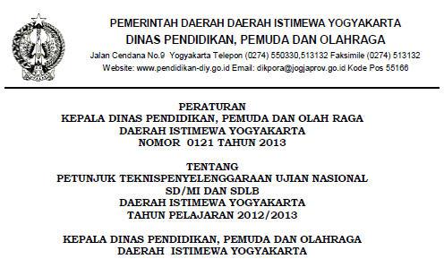 Petunjuk Teknis UN 2013 SD/MI dan SDLB Daerah Istimewa Yogyakarta