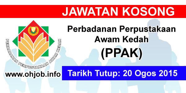 Jawatan Kerja Kosong Perbadanan Perpustakaan Awam Kedah (PPAK) logo www.ohjob.info ogos 2015
