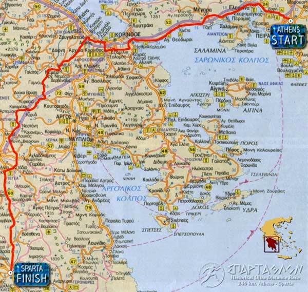 Spartathlon - 246 km ultramaraton. Harta