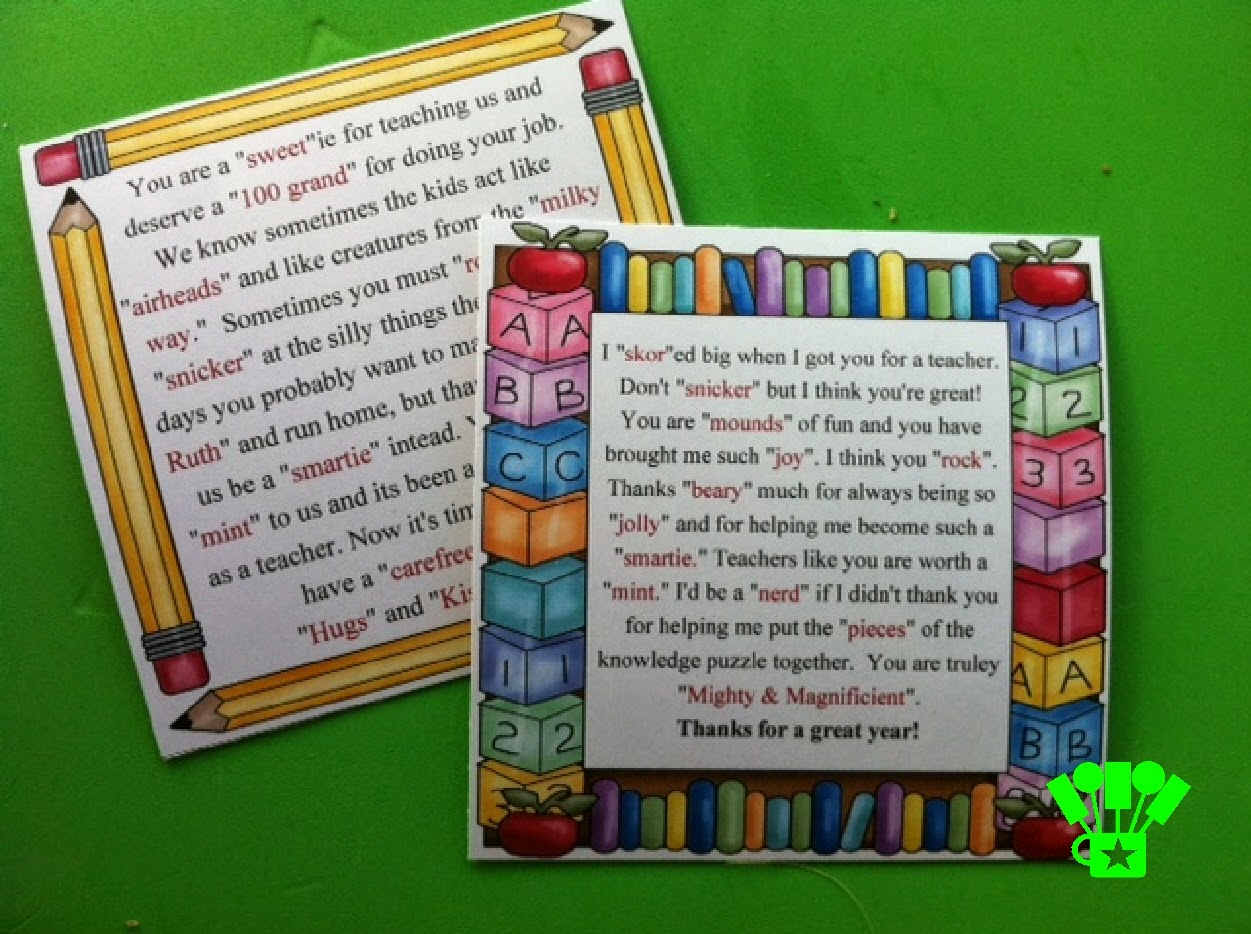 Teacher Appreciation Candy Poems - Viewing Gallery