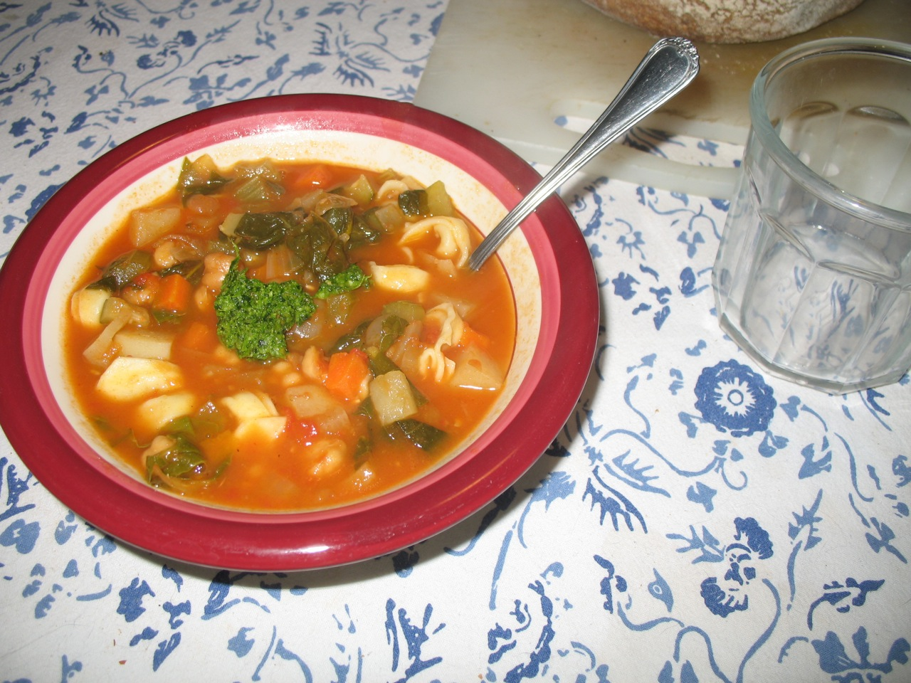 ... Monday: Smoky Minestrone with Cheese Tortellini and Parsley Pesto