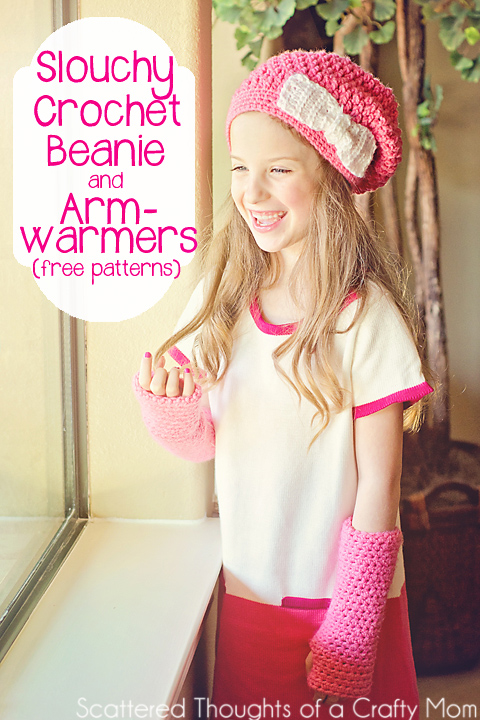 Adorable Slouchy Crochet Beanie and Arm Warmers made with free patterns!  #crochet #freepattern #hat