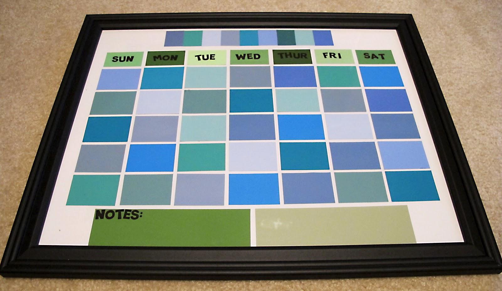 Paint Sample Calendar Diy : So many sweets diy paint sample dry erase calendar