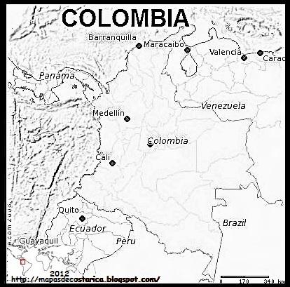 Mapa de COLOMBIA blanco y negro
