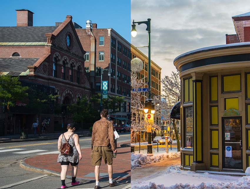Seasons of Portland, Maine USA Summer and Winter photo at Congress St and Park St. Photos by Corey Templeton.