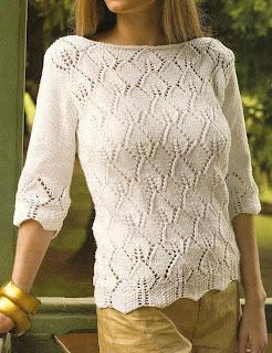Suéter con un calado que simula hojas