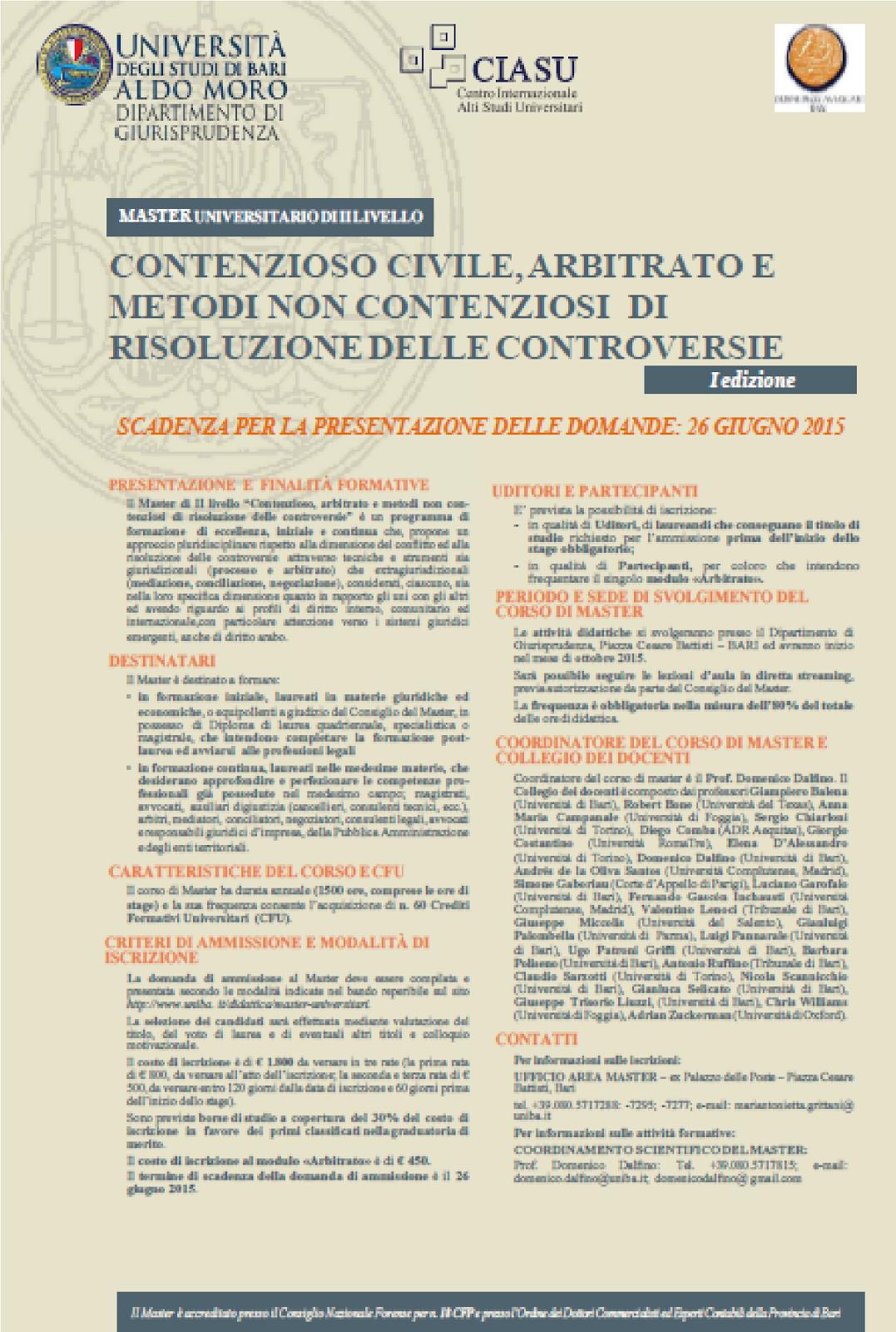 MASTER UNIVERSITARIO DI II LIVELLO: consulta la scheda informativa sul sito web dell'Università