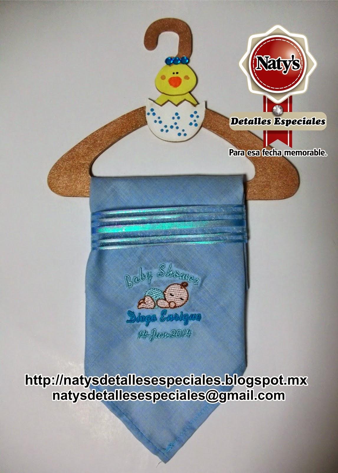 Natys detalles especiales para esa fecha memorable distintivos baby shower pa uelo bordado baby - Detalles para baby shower ...