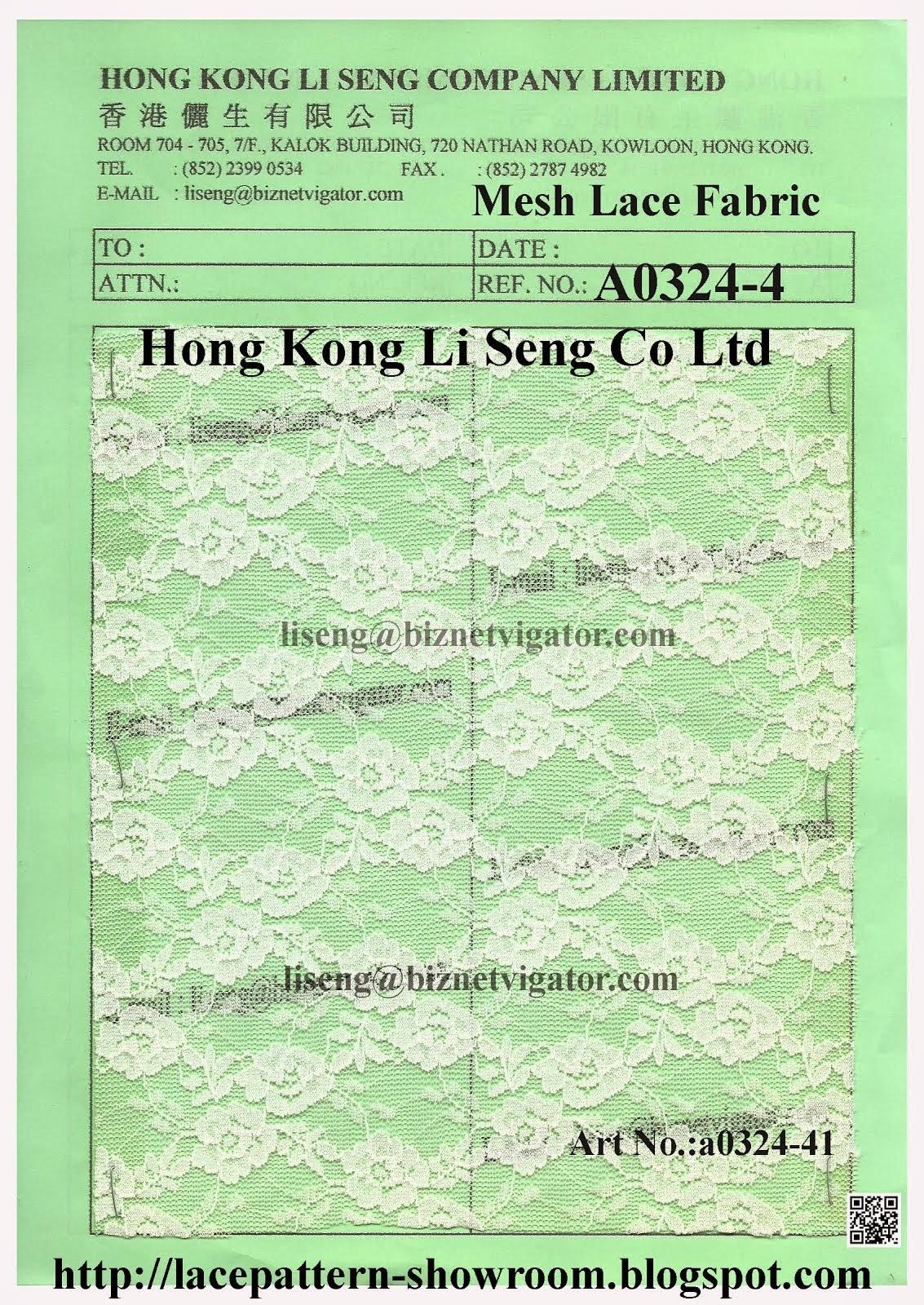 Mesh Lace Fabric Wholesaler Manufacturer and Supplier - Hong Kong Li Seng Co Ltd