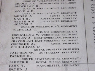 A photo of part of the list of names on panel 58 of the Menin Gate in Ypres including Joseph Nutley