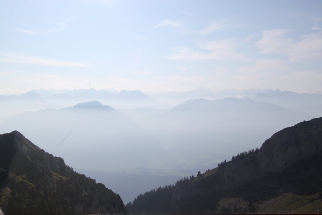 Misty mountain can be seen on top of Pilatus Kulm (Mount Pilatus) in Lucerne, Switzerland