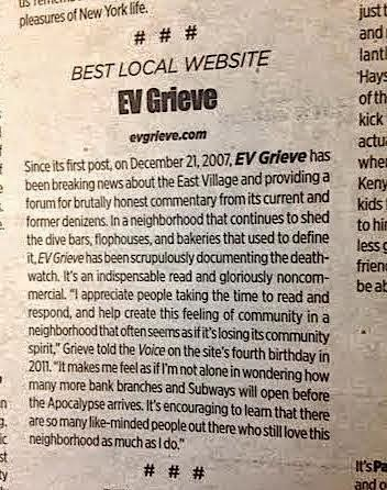 Named Best Local Website New York 2014 by The Village Voice
