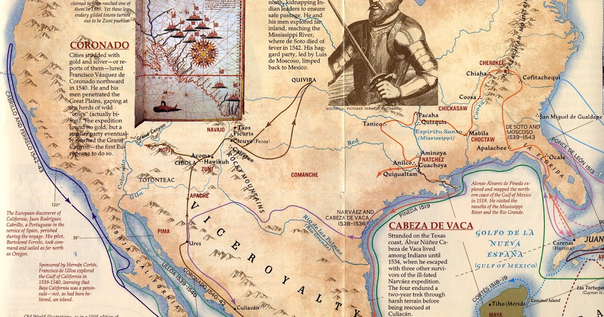Mr Hubbards Class North American Explorer Project - Map of us explorers coronado la salle