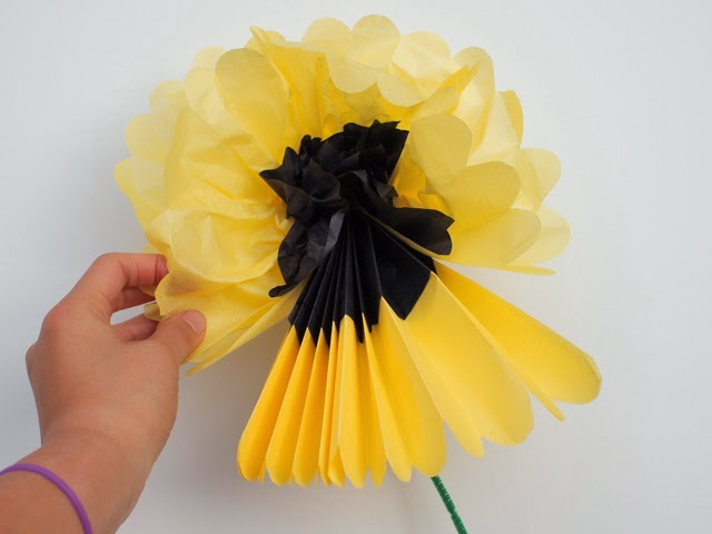 Pull apart tissue paper to create lovely two color tissue paper flowers