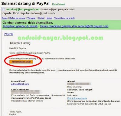 Cara mudah konfirmasi alamat email PayPal baru