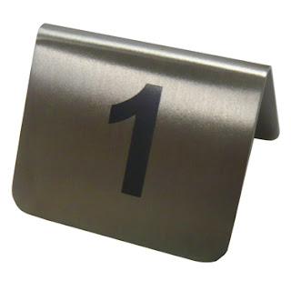 Set numere masa 55x52x(H)35 mm. Otel inoxidabil, set 12 numere
