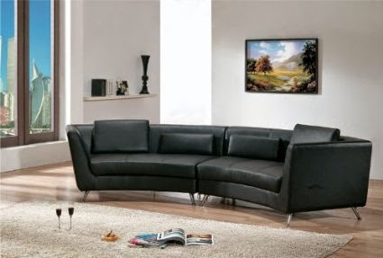 Contemporary Furniture Black Curved Sofa Sectional Leather