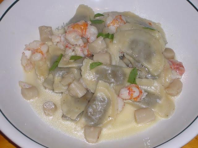 Mushroom Ravioli with Rock Shrimp and Bay Scallops