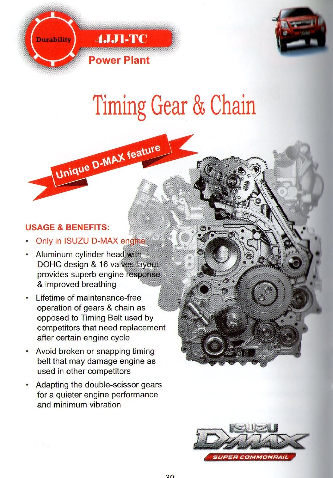 Dmax engine using timing chain dan gear NOT belt....reduce cost of  replacing timing belt and bearing and for long lasting engine.
