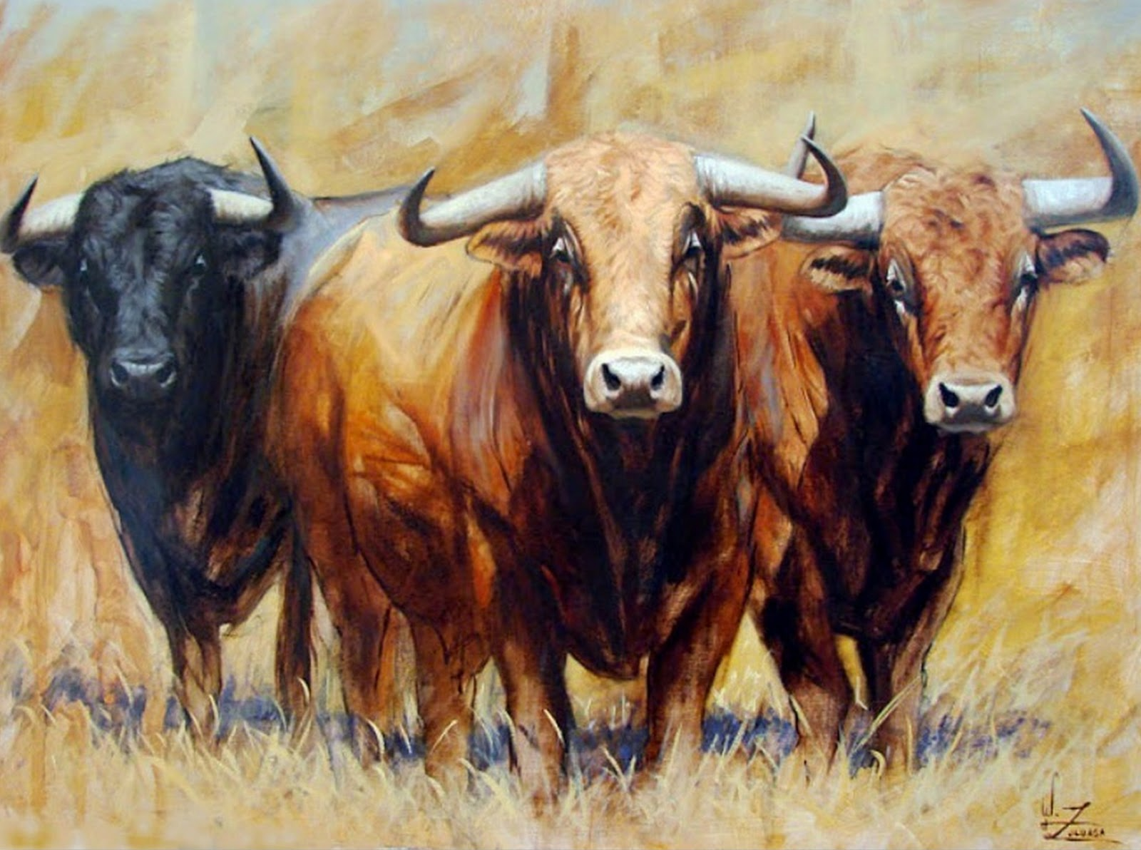 Cuadros pinturas oleos cuadros de toros - Cuadros de vacas ...