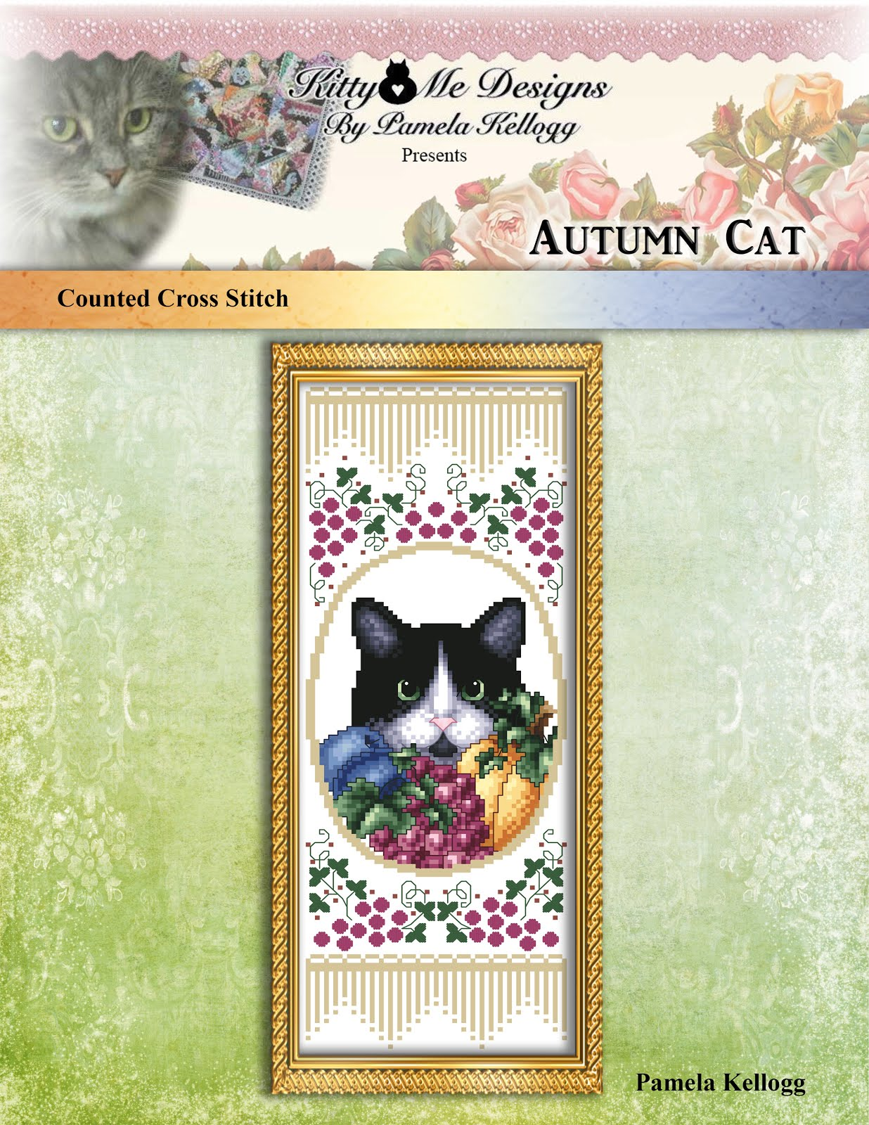 Autumn Cat Cross Stitch Pattern
