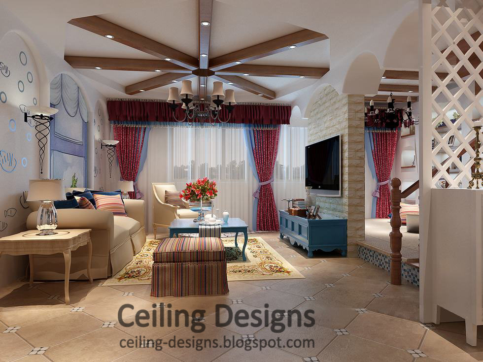 Decorated Gypsum Tray Ceiling Design For Living Room With Decorated Wood  Ceiling Panels