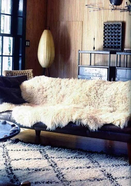 bohemian interior vogue living australia august sheepskin rug and moroccan rug