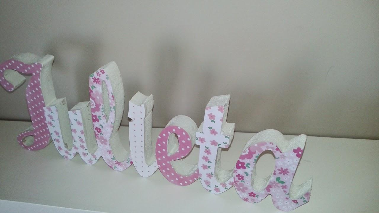 El taller de cayetana letras infantiles decoradas con papel scrap para apoyar - Letras decoradas scrap ...
