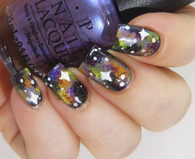 galaxy nails for Halloween