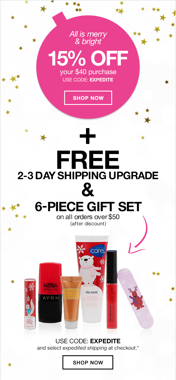 Avon Free 2-Day Shipping + 15% + Free Gift
