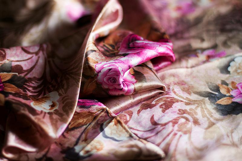 floral pattern silk shawl