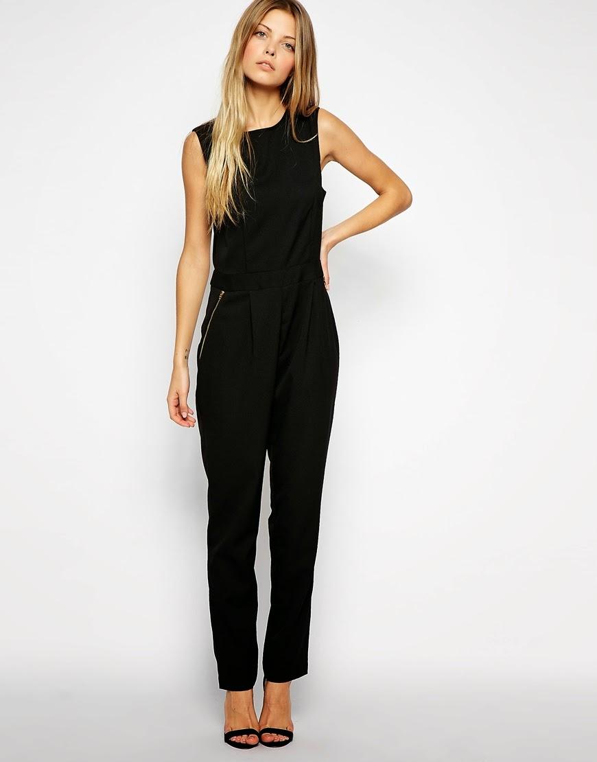 black jumpsuit with zip detail
