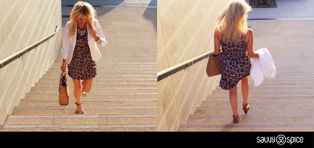 Leopard+print+dress,+white+blazer,+Dimonti+handbag,+gold+jewelry,+Aldo+wedges+with+metallic+detail,+Fake+Bake