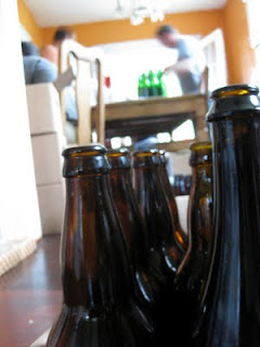Bottling assembly line in action.