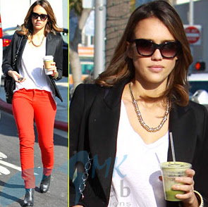 Celebrity Fitness tips Jessica Alba having Juice