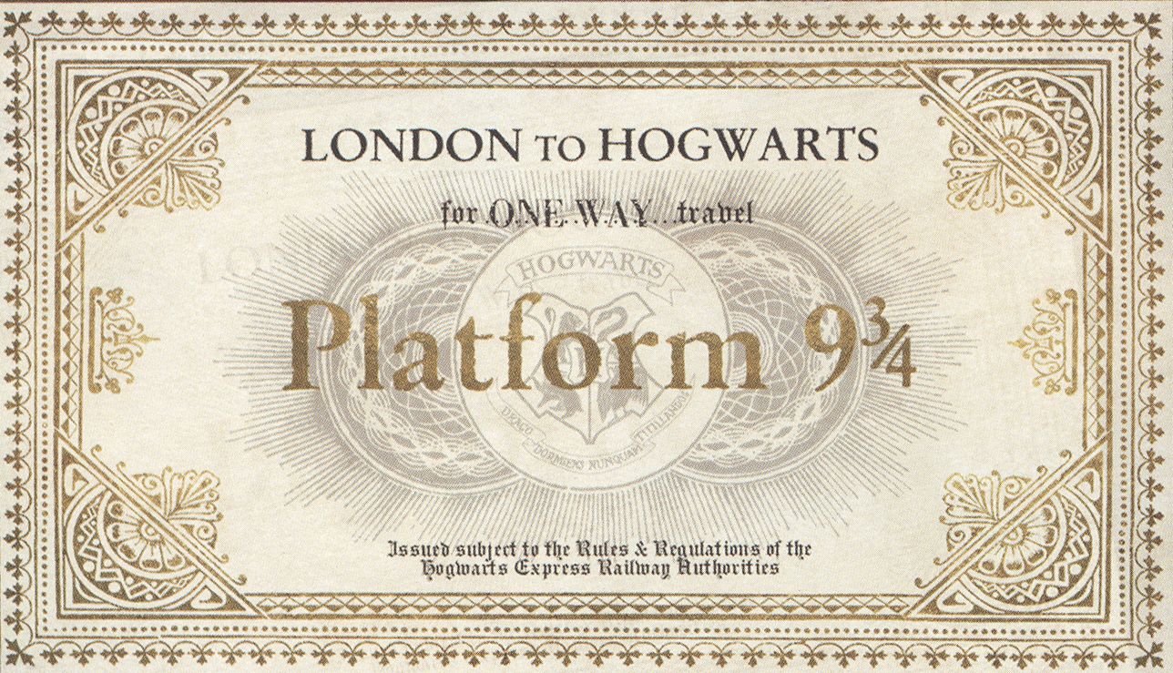 Harry potter paraphernalia the lettersinvitations platform 9 3 the golden platform 9 34 ticket i discovered spiritdancerdesigns Choice Image