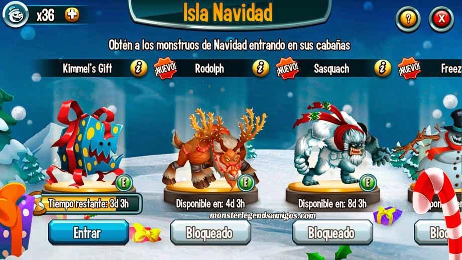 imagen de las primeras guaridas de la isla navidad de monster legends