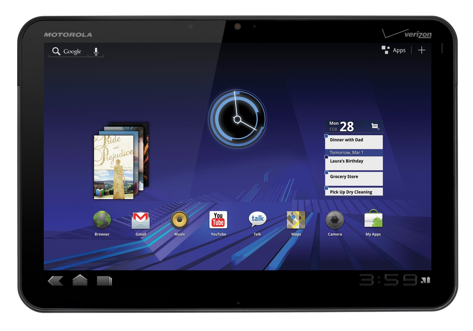 MOTOROLA XOOM Android Tablet Technical Specs | Photography