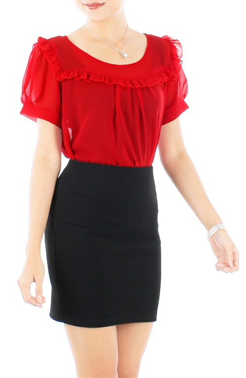 Red Xaver Ruffle Bib Blouse with Sleeves