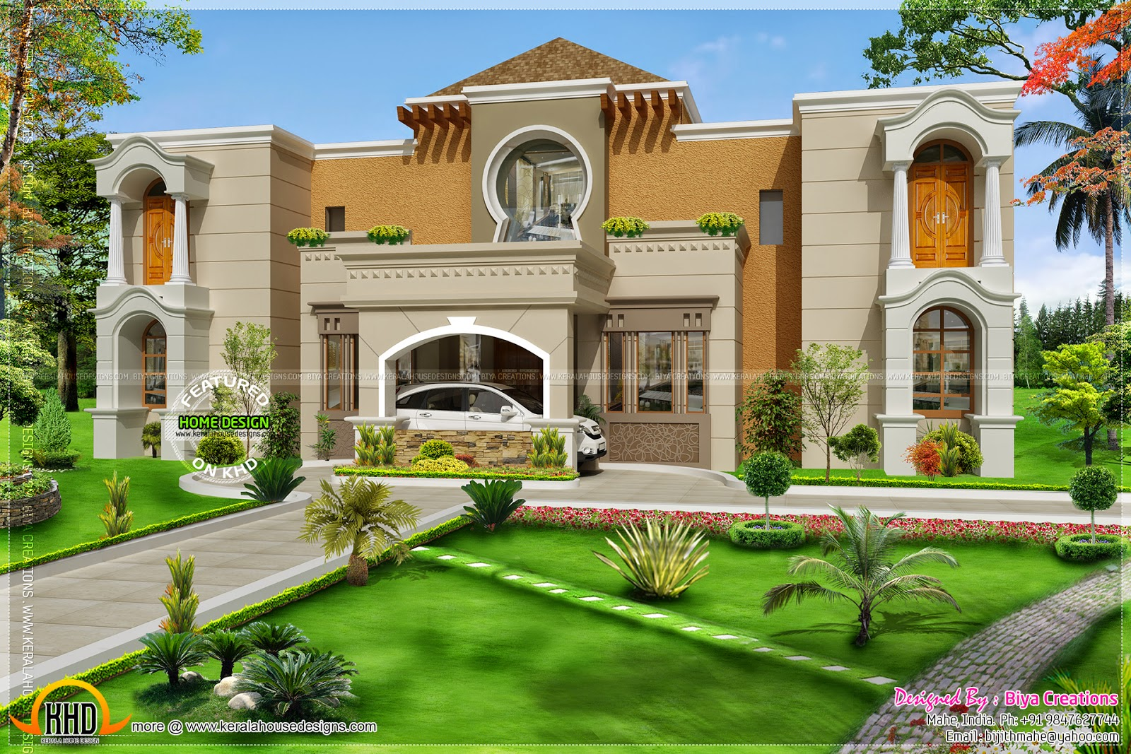 Arab style home in india kerala home design and floor plans for Villas designs photos