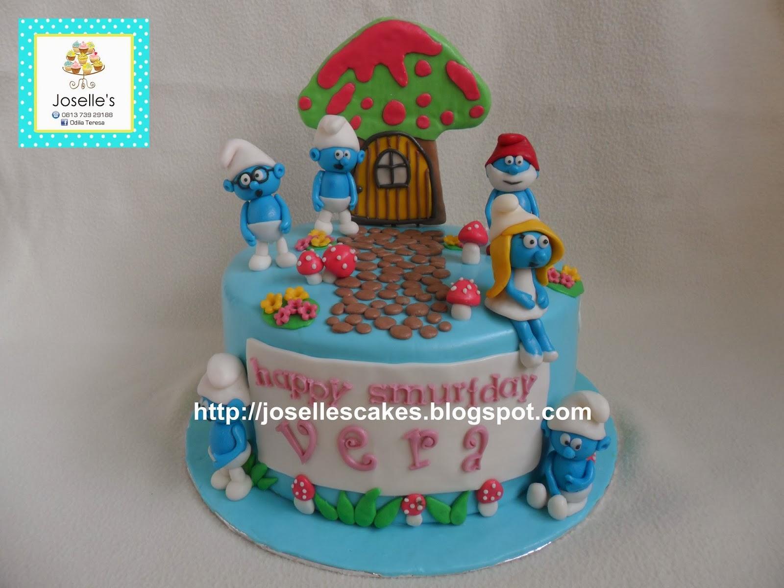 Joselle S Online Cake Shop Palembang Smurf Birthday For Vera