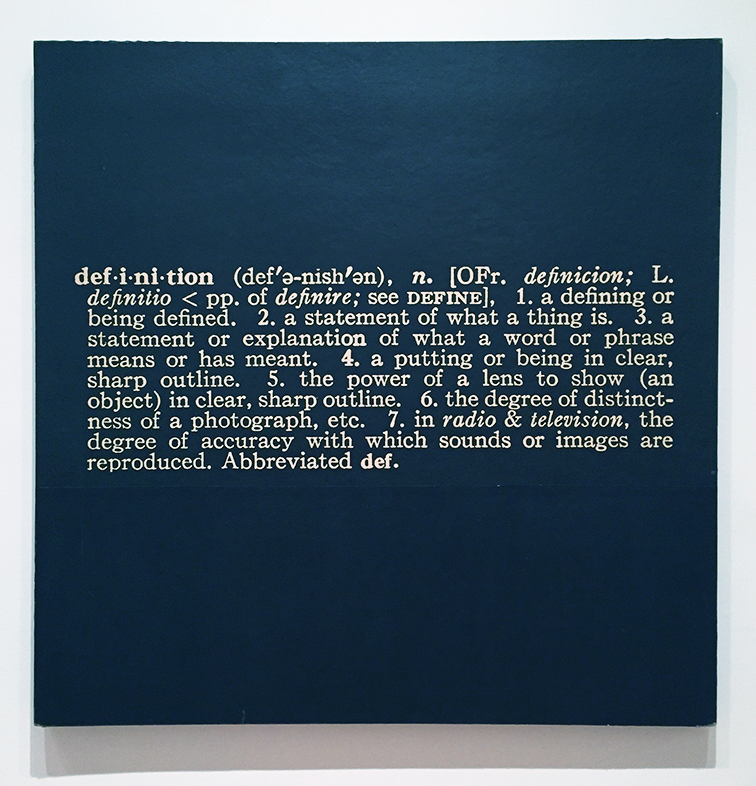 "Titled (Art as Idea as Idea) The Word ""definition"" 1966 by Joseph Kosuth at the MOMA, NYC"