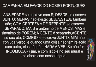 campanha em prol do português, campanha para o bom português, campanha em favor do português