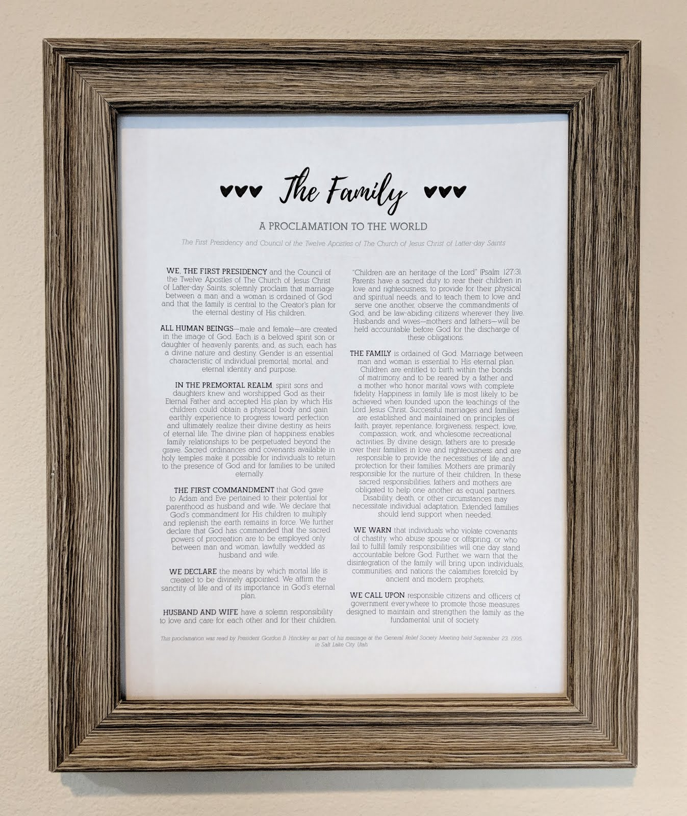 Family Proclamation Free Printables