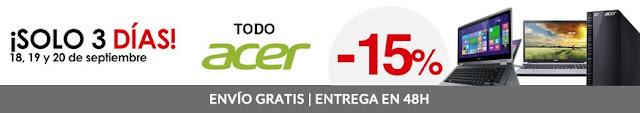 Top 3 ofertas 15% de descuento en Acer de El Corte Inglés