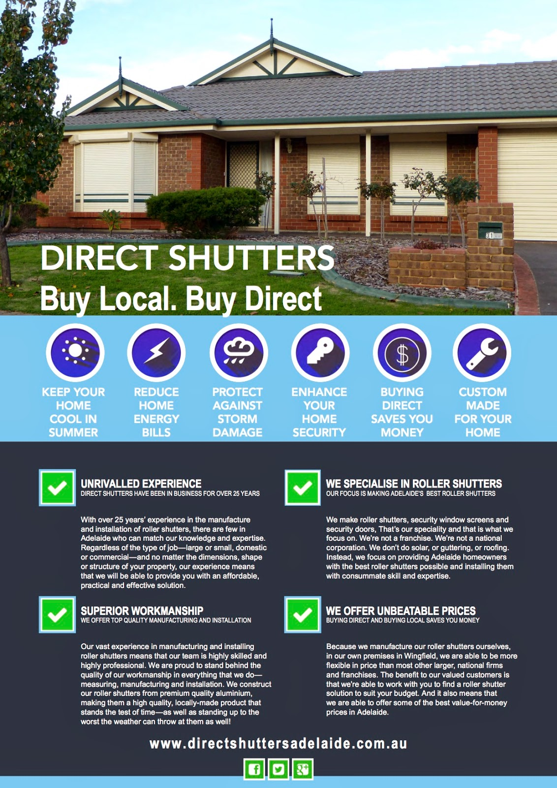 Direct Shutters offer great discount roller shutters made locally in Adelaide