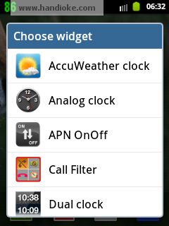 Pilih AccuWeather clock
